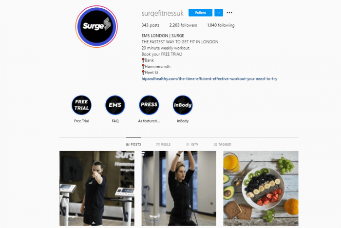 Surge Fitness social media screenshot