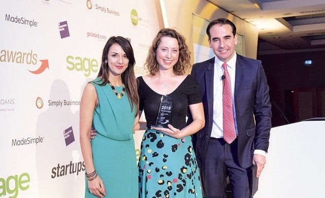 Founder of Pip & Nut Pip Murray accepts the Women in Business Award at the Startups Awards 2016