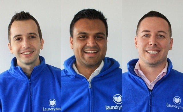 Laundryheap founders Deyan Dimitrov, Sebastian van Os and Mayur Bommai