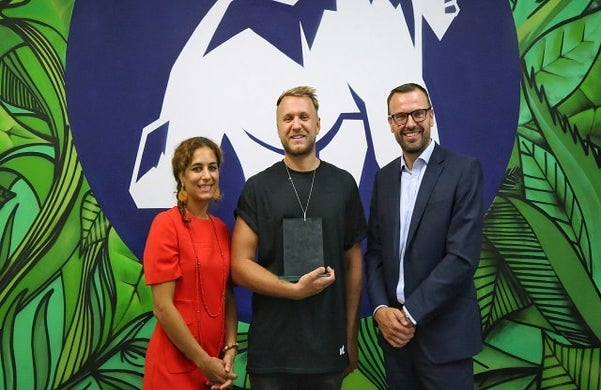 Jungle Creations' Jamie Bolding with haysmacintyre's Natasha Frangos and David Cox