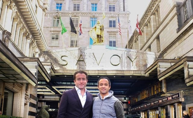 Nightly.travel co-founders Santiago Navarro and David Ferreira outside the Savoy hotel