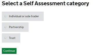 How to register self employed: self assessment tax category option screenshot from HMRC