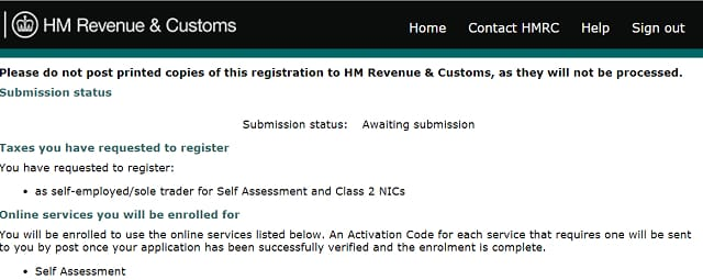 How to register self employed: submission screenshot from HMR