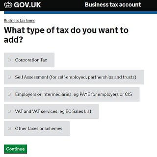 How to register self employed: self assessment tax option screenshot from HMRC