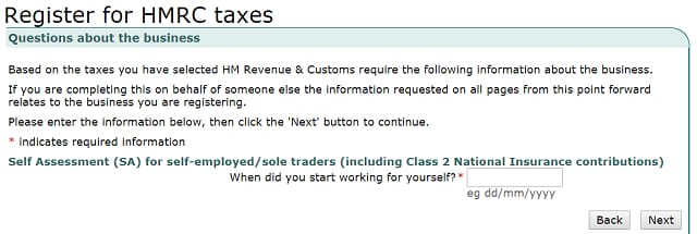 How to register self employed: trading date screenshot from HMRC